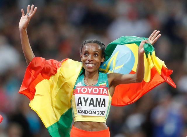 Almaz Ayana a réalisé une performance impressionnante sur 10'000 m. [Frank Augstein - Keystone]