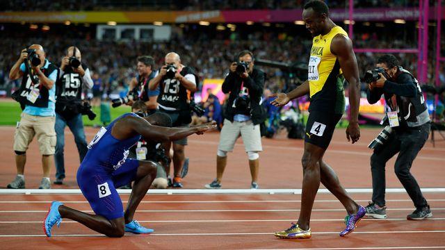 Justin Gatlin n'a pas manqué de rendre hommage à Usain Bolt. [Phil Noble - Reuters]