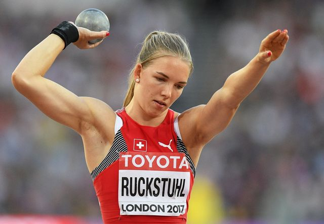 Géraldine Ruckstuhl pointe en milieu de tableau après la première journée de l'heptathlon. [Facundo Arrizabalaga - Keystone]