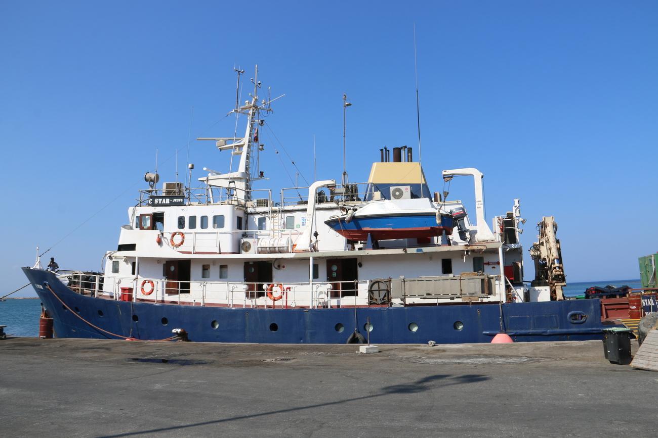 Le C Star lorsqu'il était immobilisé fin juillet 2017 dans le port de Famagouste dans la partie turque de l'île de Chypre