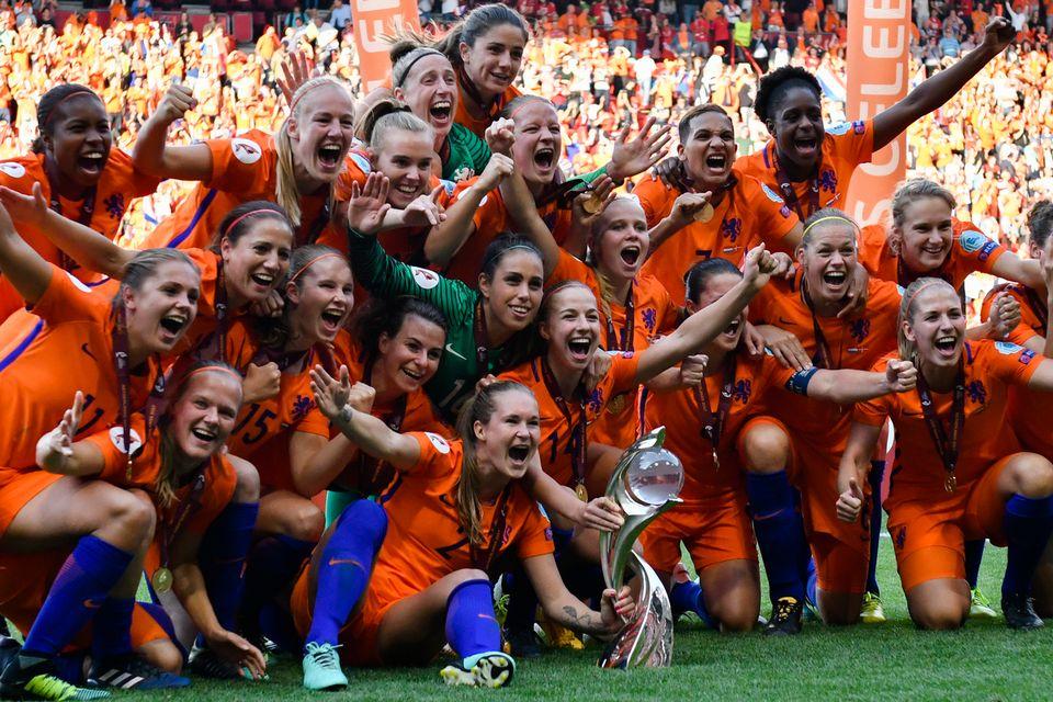 Les joueuses Néerlandaises championnes d'Europe, sans aucun doute un moment fort de la semaine. [Patrick Post - Keystone]
