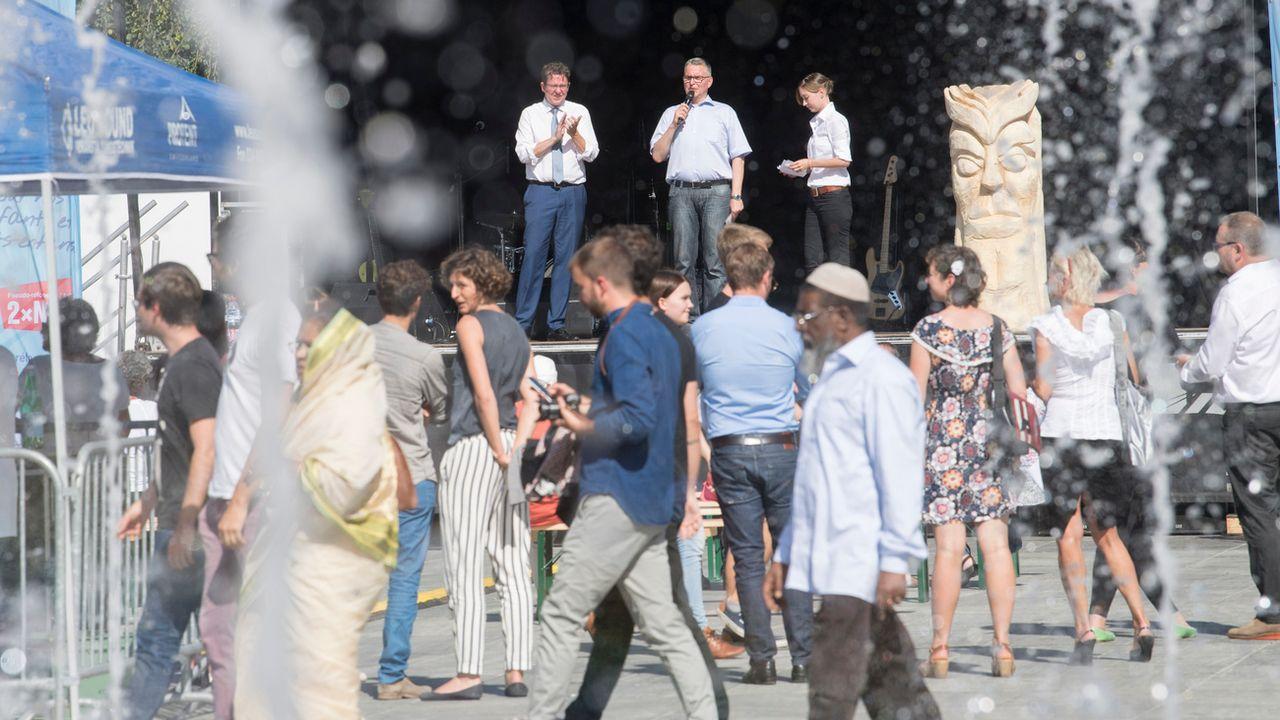 Lancement de la campagne des opposants à la réforme de la Prévoyance vieillesse 2020 sur la Place fédérale à Berne. [Marcel Bieri - Keystone]