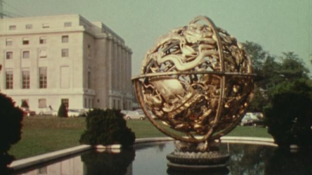 Le Palais des Nations Unies à Genève en 1980. [RTS]