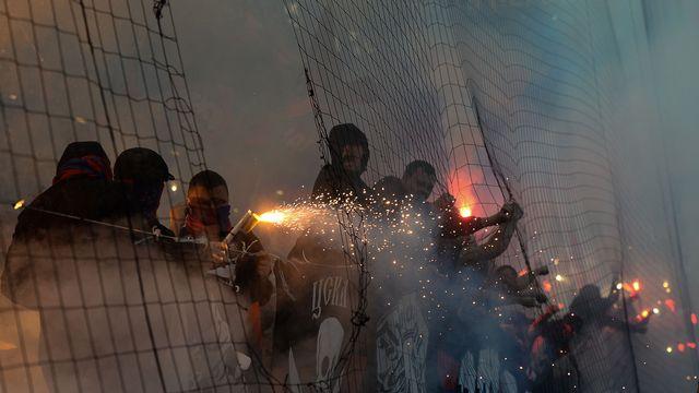 Des hooligans lors d'un match du championnat russe de football. Alexander Vilf/Sputnik AFP [Alexander Vilf/Sputnik - AFP]