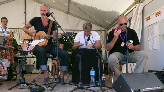 Les Belges de Triggerfinger sur le studio RTS au Paléo Festival de Nyon le mardi 21 juillet 2015. [Jérôme Genet - RTS]