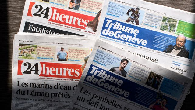 Les rédactions de 24 Heures et de la Tribune de Genève seront réunie avec d'autres à Lausanne. [Laurent Gilliéron - Keystone]
