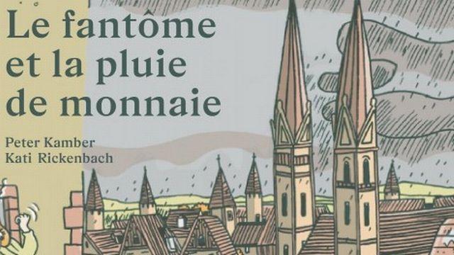 """""""Le fantôme et la pluie de monnaie"""", un livre écrit par Peter Kamber et illustré par Kati Rickenbach. [Kati Rickenbach - OSL Œuvre Suisse des Lectures ]"""