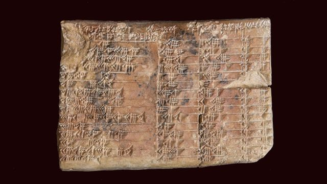 La tablette d'argile Plimpton 322 est vieille de 3'700 ans.  EPA UNSW UNSW/HANDOUT Keystone [EPA UNSW UNSW/HANDOUT - Keystone]