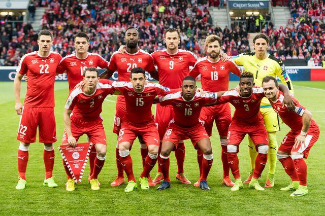 L'équipe nationale suisse de football au Stade de Genève en mars 2017. [Jean-Christophe Bott - Keystone]