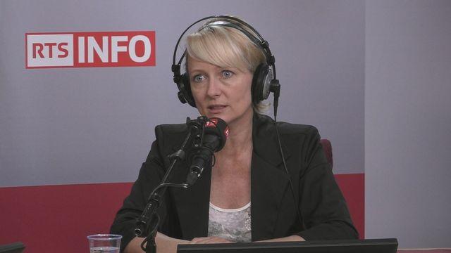 Isabelle Moret sur le plateau de La Matinale de la Première. [RTS]
