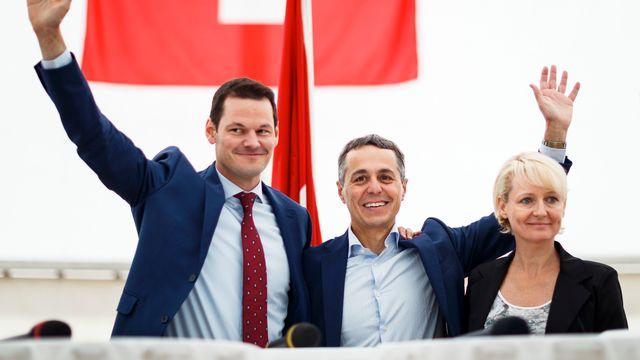 les trois candidats à la succession de Didier Burkhalter étaient présent. [Valentin Flauraud - Keystone]