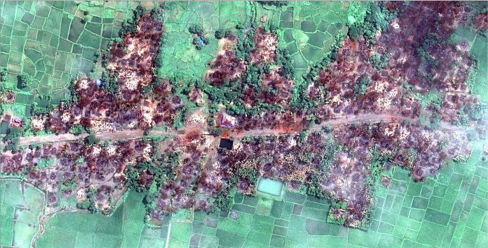 Une image satellite montrant la destruction quasi totale du village rohingya de Chein Khar Li, en Birmanie.