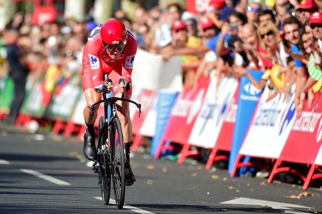 Froome a profité du contre-la-montre pour consolider son maillot rouge. [José Jordan - AFP]