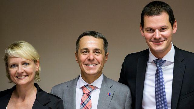 Les trois candidats PLR à la succession de Didier Burkhalter. [Jean-Christophe Bott - Keystone]