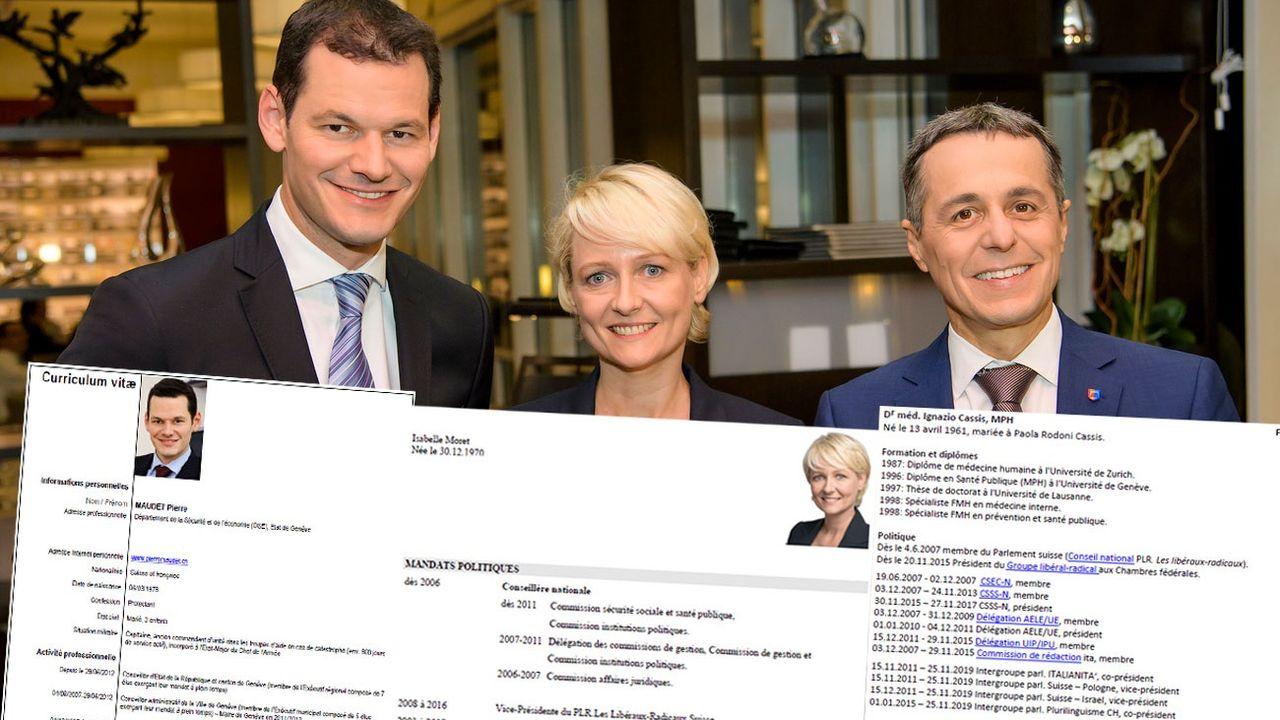 Les trois candidats PLR à la succession de Didier Burkhalter au Conseil fédéral et leur CV. [Jean-Christophe Bott - Keystone]