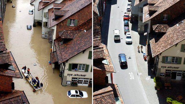 Quartier de la ville de Berne pendant l'indondation de 2005 (à gauche) puis en 2006 (à droite). [Lukas Lehmann - Keystone]