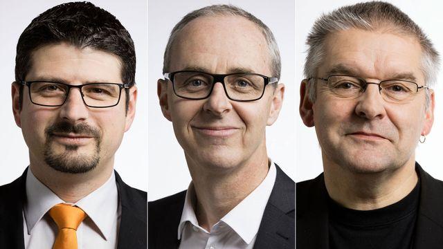 Yannick Buttet, Benoît Genecand et Didier de la Reussille. [Gaëtan Bally - Keystone]
