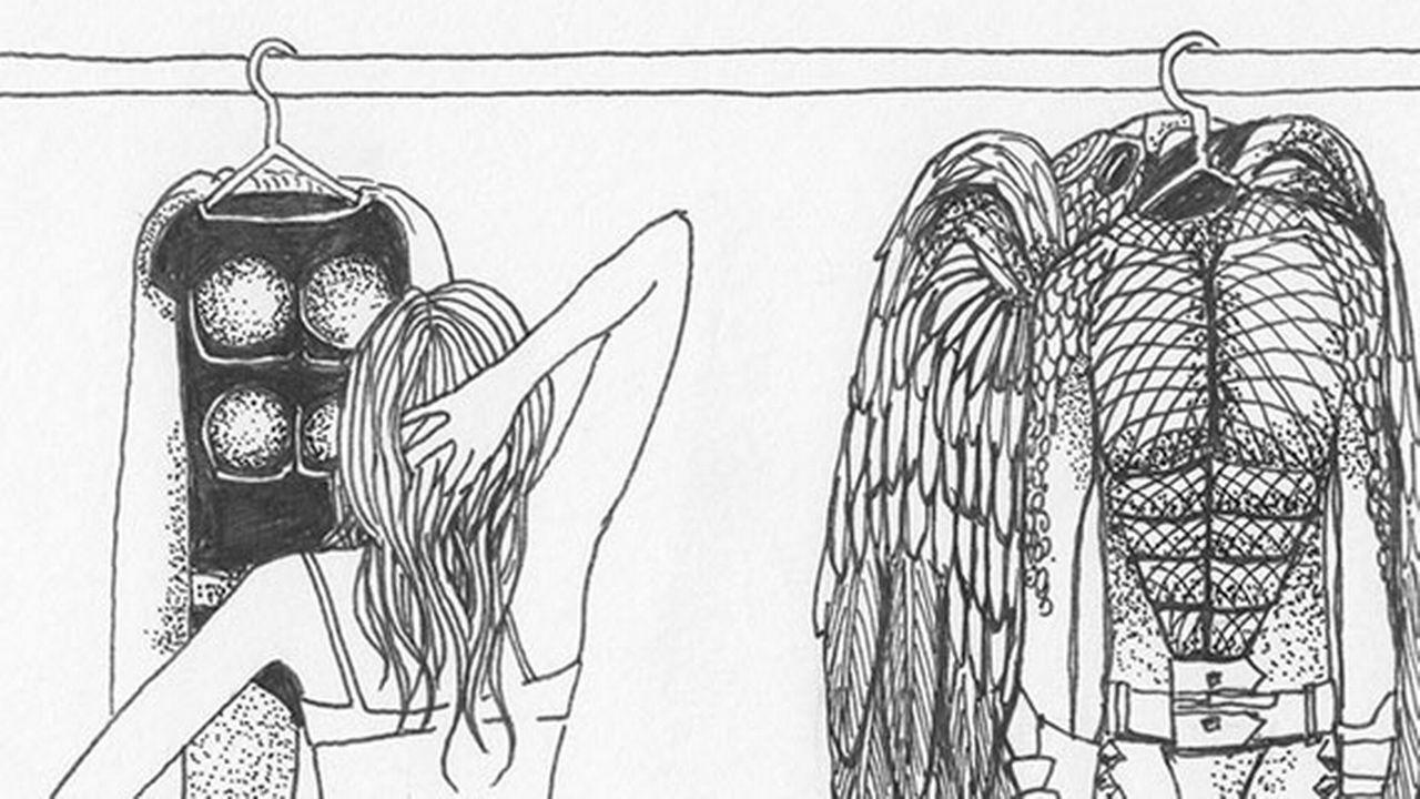 """Dessin de Dora Formica tirée de l'exposition """"Mise en bûche"""". [Dora Formica - bdfil.ch]"""