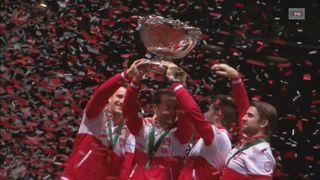Tennis : Victoire de l'équipe suisse de tennis en Coupe Davis face à l'équipe de France à Lille. [RTS]