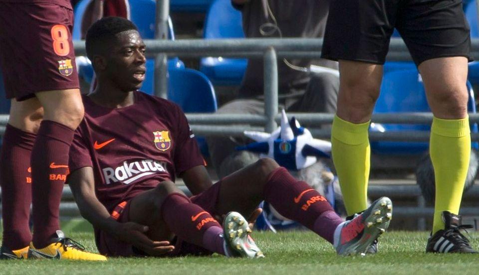 Dembélé s'est blessé tout seul samedi contre Getafe. [Rodrigo Jimenez - Keystone]