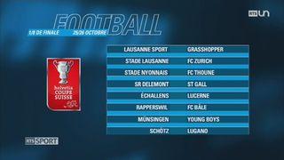 Football - Coupe de Suisse: le programme des 8es de finale [RTS]