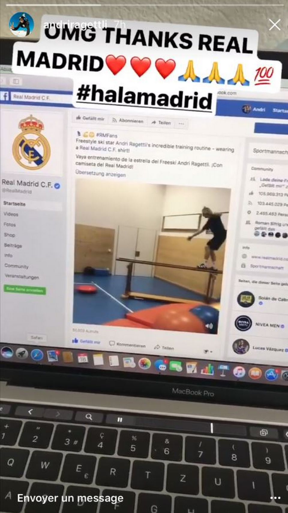 Andri Ragettli sur la page Facebook du Real Madrid [instastory d'Andri Ragettli - RTS]
