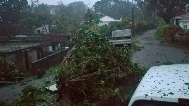 Petit-Bourg, en Guadeloupe, battue par les vents et les pluies de NAria, ce 19 septembre 2017. [AFP]