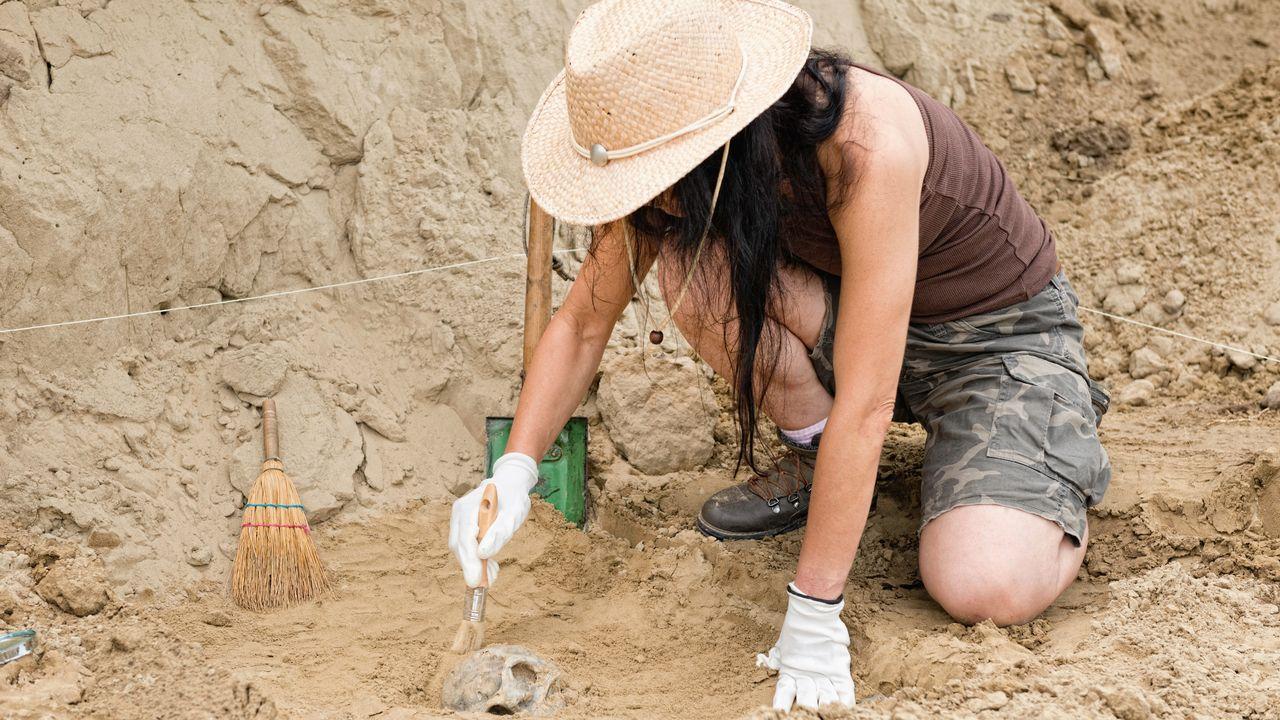 Archéologue sur le terrain [© MICROGEN - Fotolia ]
