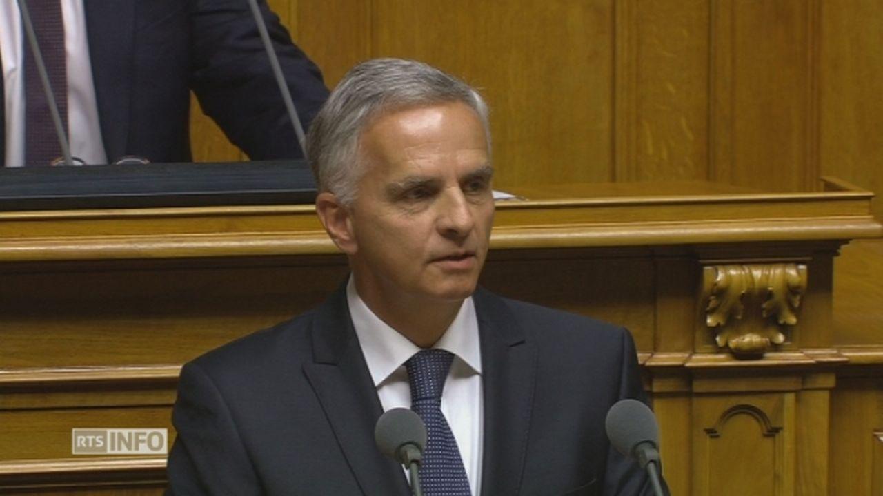 Le discours d'adieu de Didier Burkhalter au Conseil fédéral [RTS]
