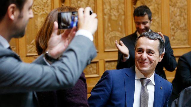 Ignazio Cassis à l'annonce de son élection au Conseil fédéral. [Peter Klaunzer - Keystone]
