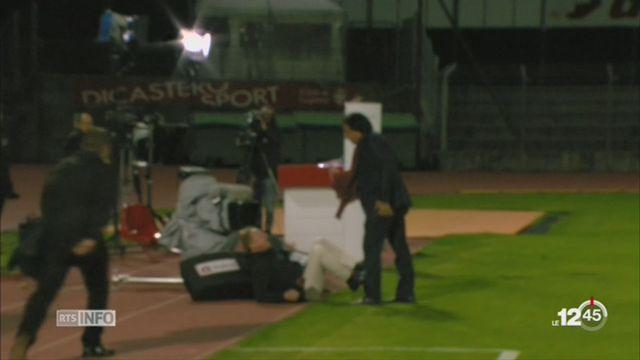 Christian Constantin frappe un homme à terre [RTS]