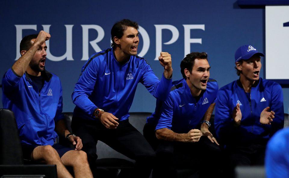Marin Cilic, Rafael Nadal, Roger Federer et Tomas Berdych n'ont pas hésité à donner de la voix pour leur équipe. [David W Cerny - Reuters]