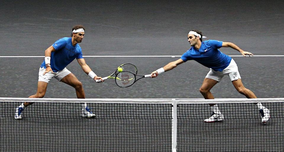Nadal et Federer, un double inédit qui a enchanté Prague ce week-end. [Milan Kammermayer - Keystone]