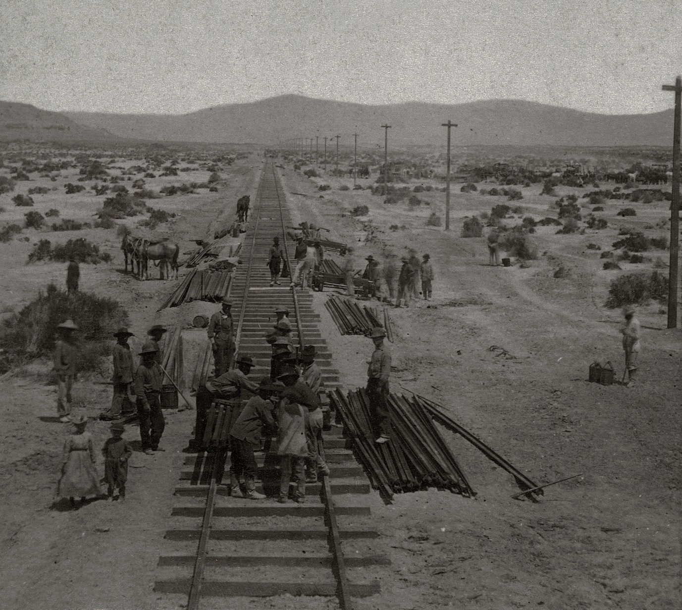 Construction en 1869 de la Central Pacific Railways.