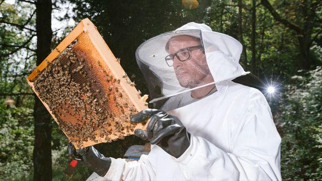 Alexandre Aebi, un des coauteurs de l'étude de l'Université de Neuchâtel sur les néonicotinoïdes dans le miel, est aussi apiculteur. [Guillaume Perret - Université de Neuchâtel]