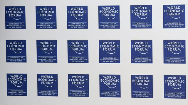 Le logo du WEF à davos. [Laurent Gillieron - Keystone]