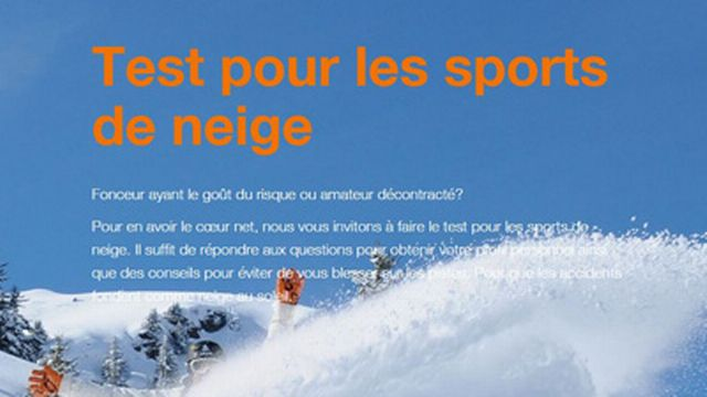 Test de la Suva pour les sports de neige [suva.ch - Caisse nationale suisse d'assurance en cas d'accidents]