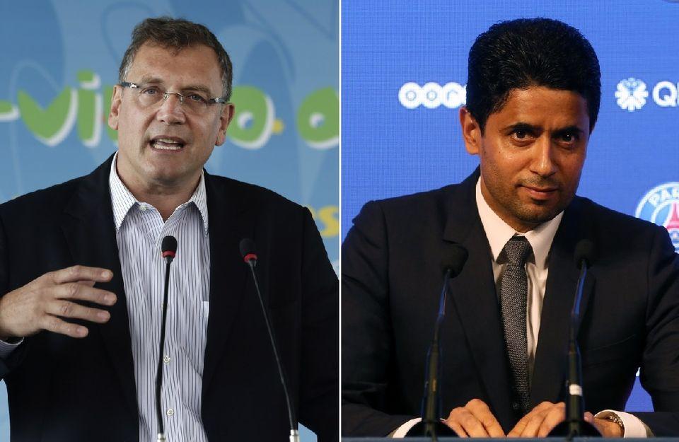 Jérôme Valcke et Nasser Al-Khelaifi sont dans le collimateur de la justice suisse. [H.Ammar/E.Laurent - Keystone]