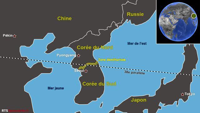 Carte de la Corée et de ses voisins [Thierry Vilbert - RTS Découverte]