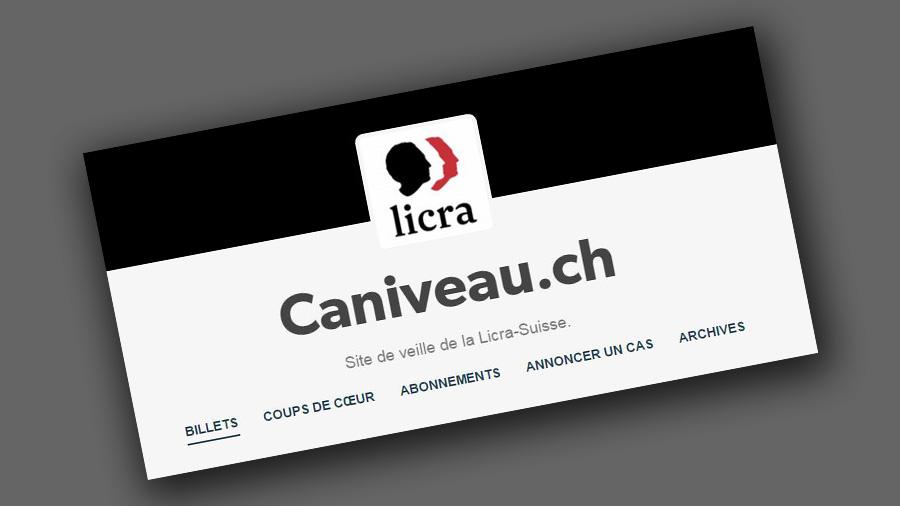 Une capture d'écran du site de veille caniveau.ch.