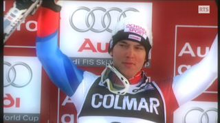 Carlo Janka sur le podium du géant de Val d'Isère en 2008 [RTS]