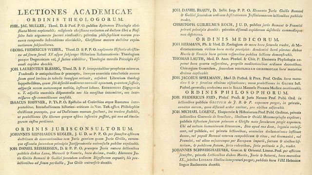 Extrait d'un fascicule cataloguant les publications faites par les professeurs de la Faculté de théologie protestante de Strasbourg en 1793, pendant la Révolution.