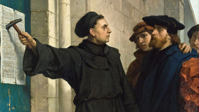 Luther affichant ses 95 thèses en 1517 (Ferdinand Willem Pauwels, 1830 - 1904)