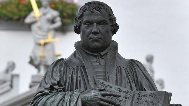 Le mémorial de Martin Luther à Wittenberg, en Allemagne. [Hendrik Schmidt - DPA/AFP]