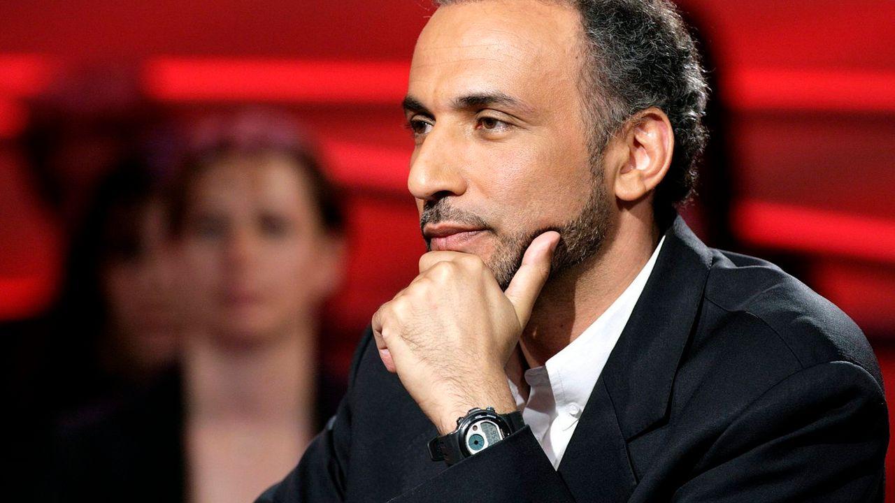 L'islamologue suisse Tariq Ramadan sur la télévision alémanique en 2007. [Salvatore Di Nolfi - Keystone]
