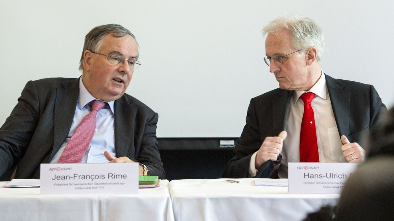 Le président de l'USAM Jean-François Rime et le directeur Hans-Ulrich Bigler (ici en 2016). [Peter Schneider - Keystone]