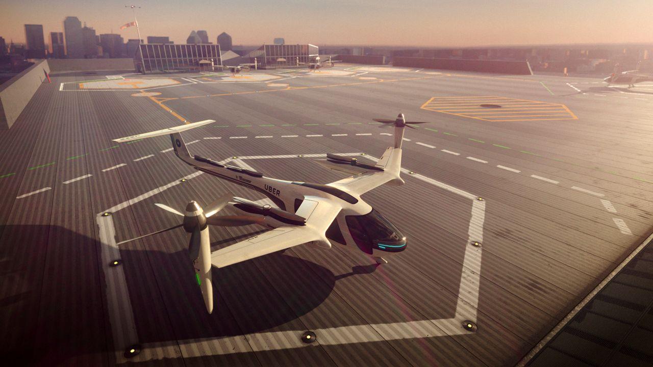 Image de synthèse d'Uber Technologies, montrant un taxi aérien tel qu'imaginé par le géant américain du transport à la demande. [Uber Technologies/Keystone]