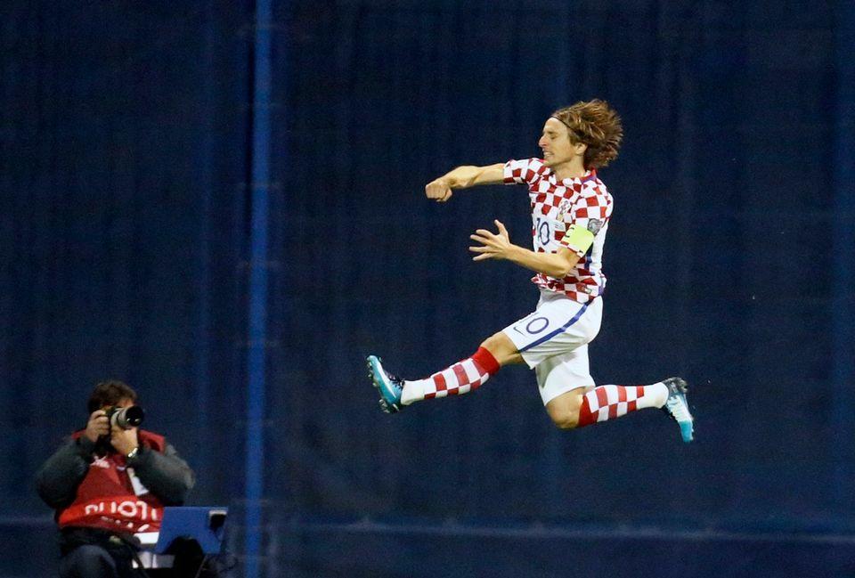 Modric a inscrit le 1er but de la partie à la 13e. [Darko Bandic - Keystone]