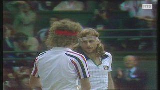 Poignée de mains entre Björn Borg et John McEnroe en finale de Wimbledon 1980. [RTS]