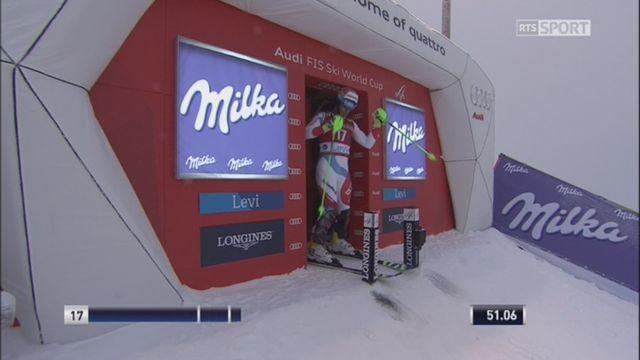 Levi (FIN), slalom 2e manche: Aerni (SUI) termine à la première place provisoire devant Meillard (SUI) [RTS]